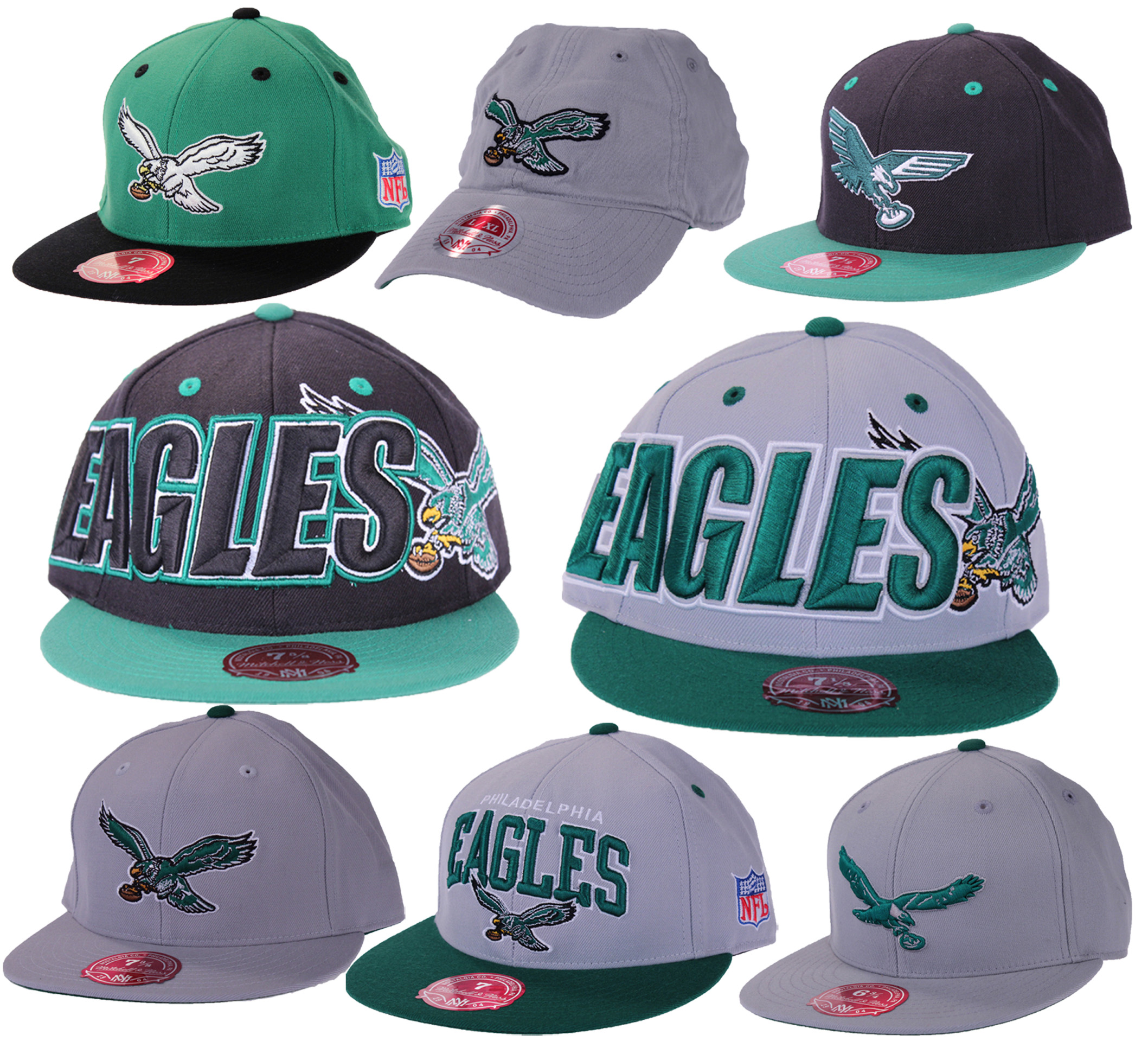 Philadelphia Eagles NFL Mitchell Ness Throwback Fitted Hats Flat ...