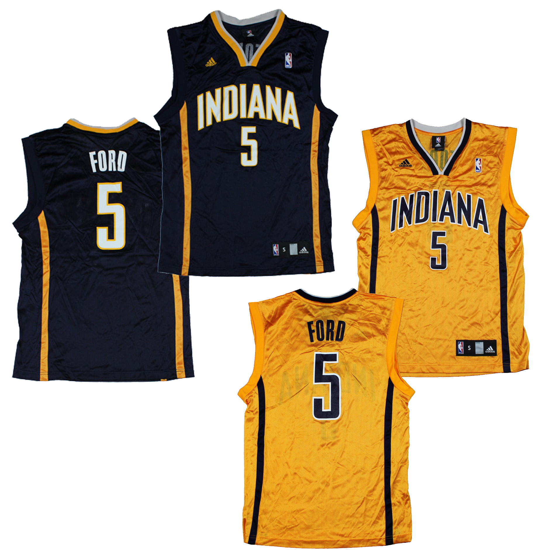 reputable site 26958 f5c42 Details about Adidas Indiana Pacers NBA Replica FORD # 5 Basketball Jerseys  I Yellow OR Navy