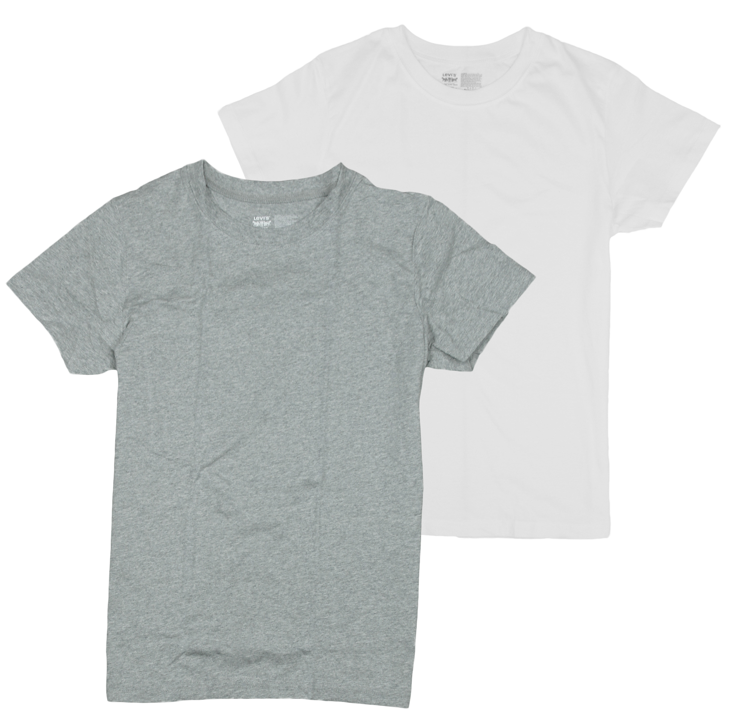 a5ba5bafaf5 Details about Levi's Youth Short Sleeve Classic Blank Tee Shirt - White &  Gray - 2 Pack