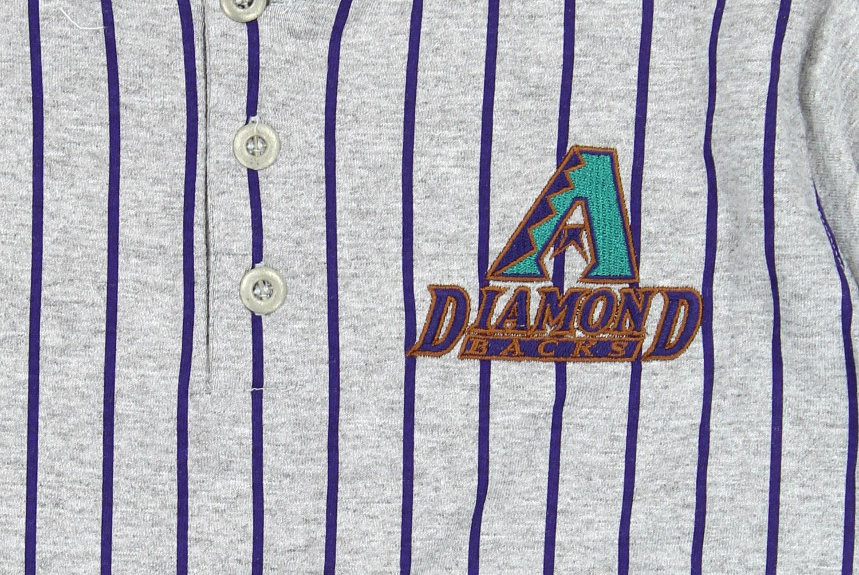 86a30687f MLB Baseball Boys Youth Arizona Diamondbacks Retro Striped Henley Shirt,  Grey