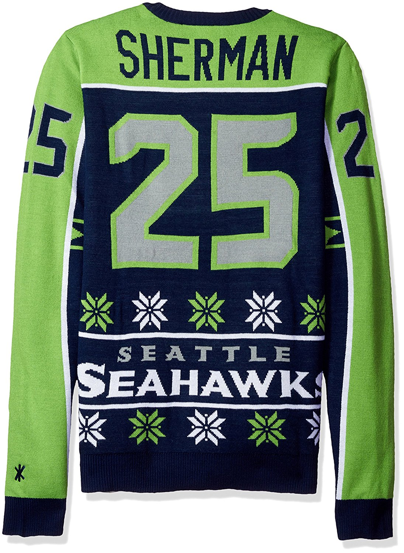 6ec96edf524 KLEW NFL Men s Seattle Seahawks Richard Sherman  25 Ugly Sweater
