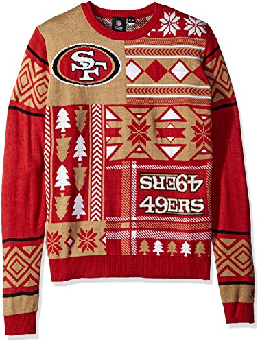 Klew Nfl Mens San Francisco 49ers Patches Ugly Sweater Red Ebay