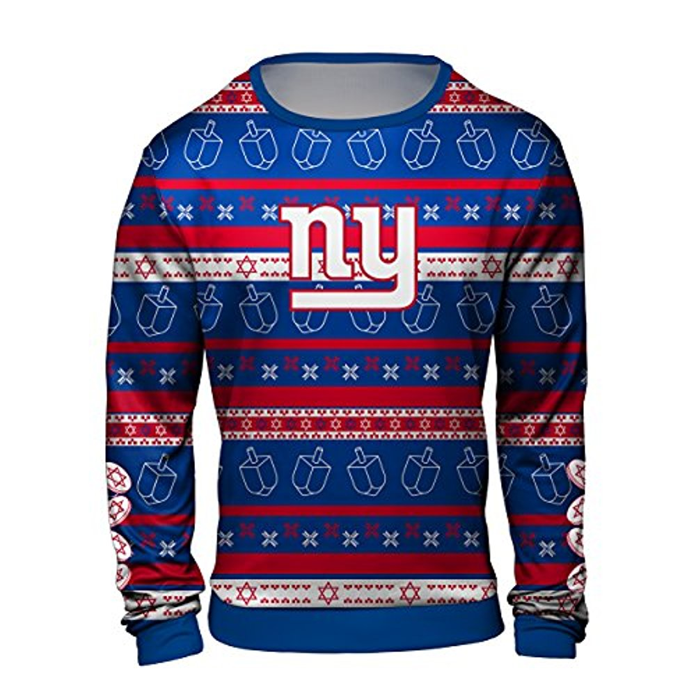Forever Collectibles NFL Men s New York Giants Hanukkah Ugly Crew Neck  Sweater 23ccb622a