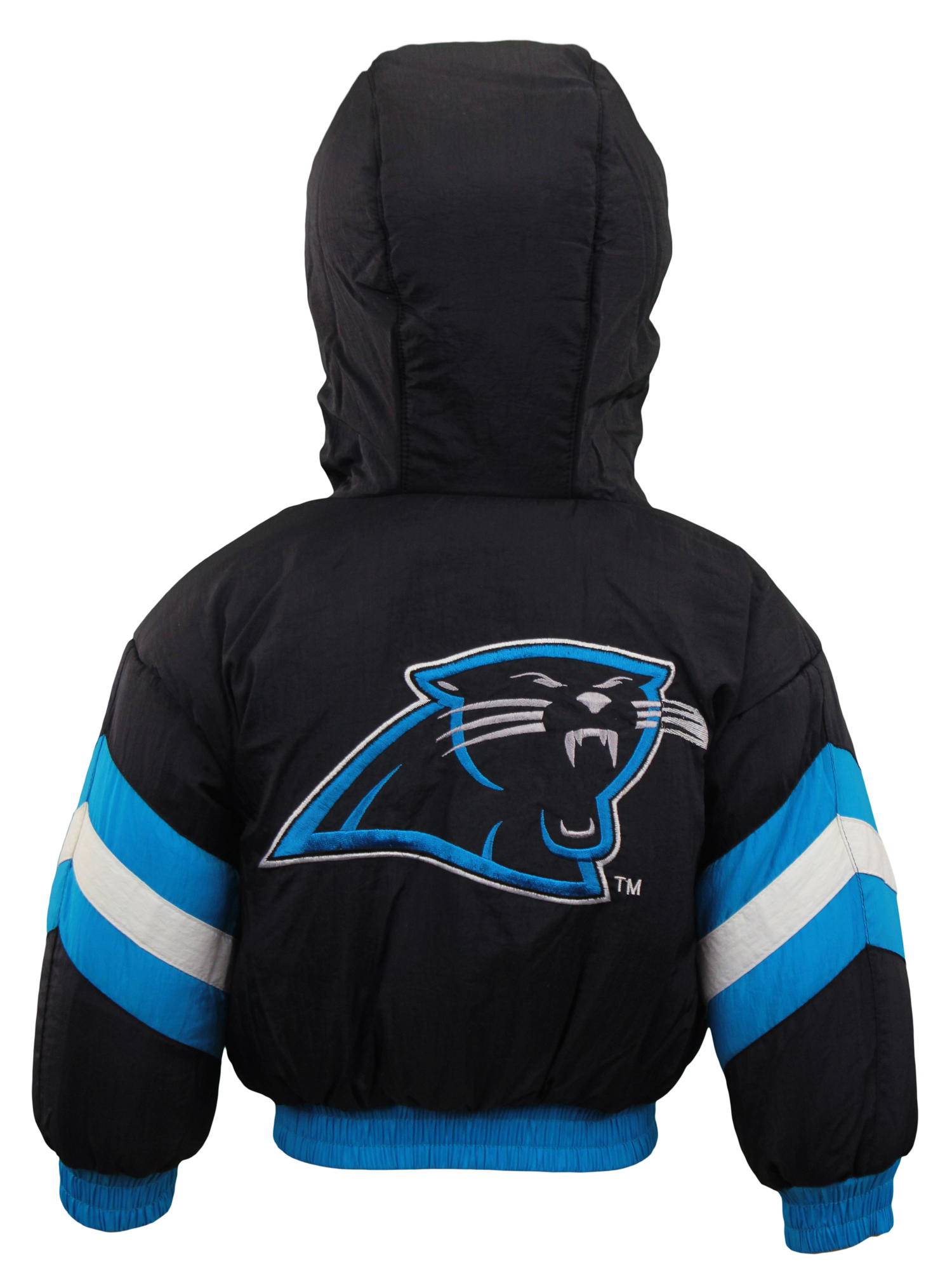 c4c3a61e Details about Carolina Panthers NFL Boys Toddlers Full Zip Reversible  Hooded Bomber Jacket