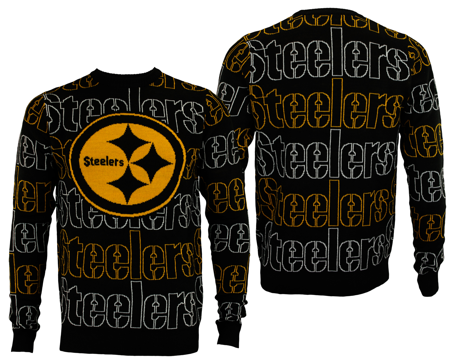 brand new 9c05c 1a1a2 Details about FOCO NFL Men's Pittsburgh Steelers Wordmark Repeat Ugly  Sweater