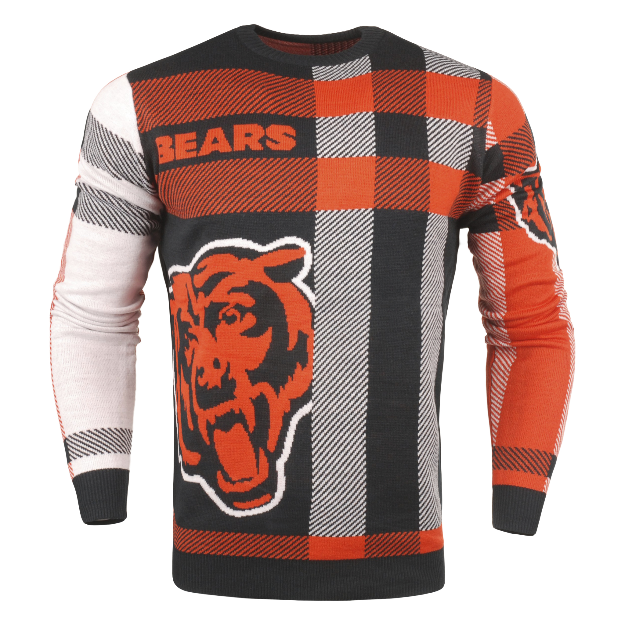 Forever Collectibles NFL Men/'s Chicago Bears Plaid Crew Neck Sweater