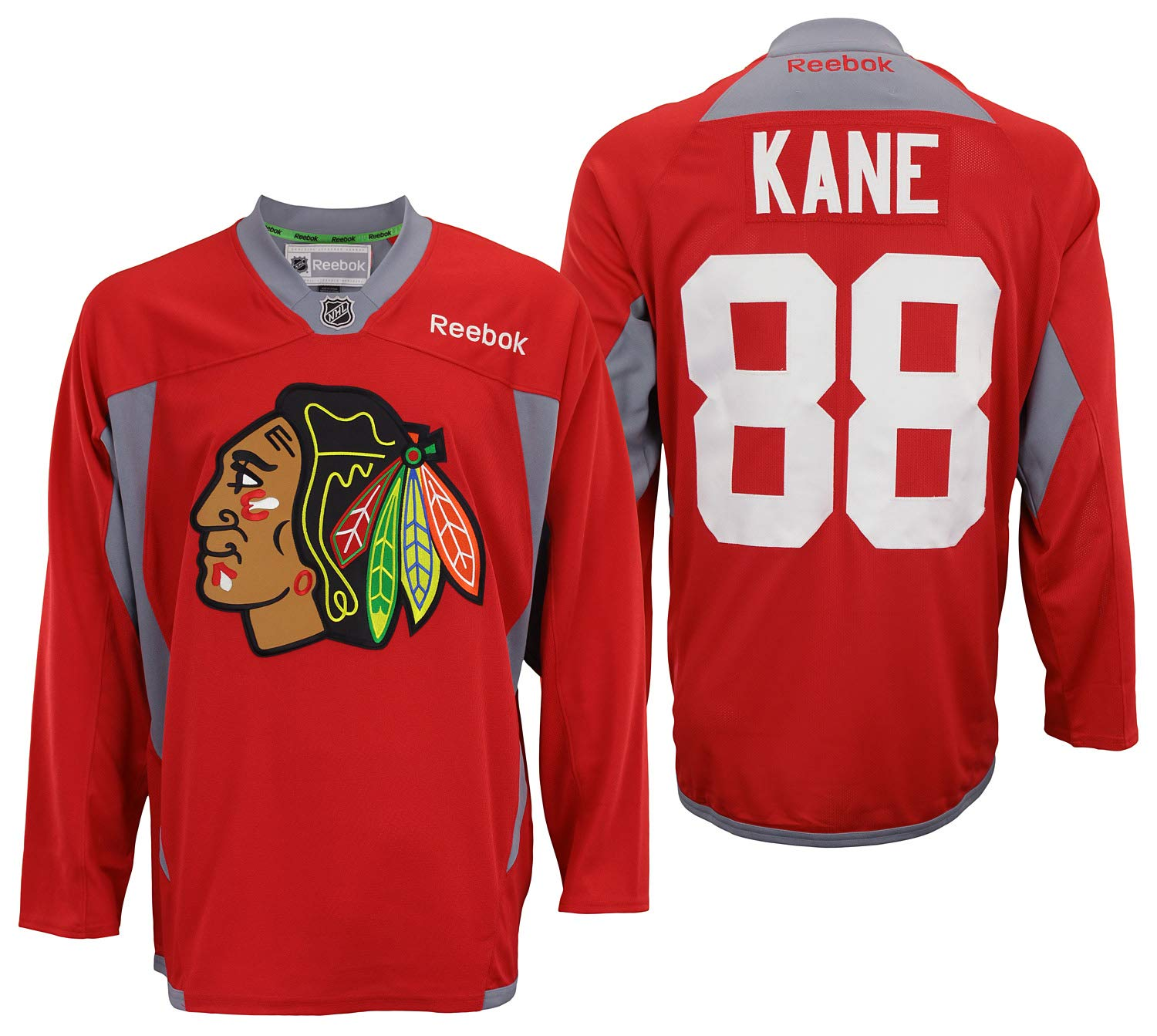 6b43d5497e3 Reebok NHL Men's Chicago Blackhawks Patrick Kane #88 Practice Jersey Red
