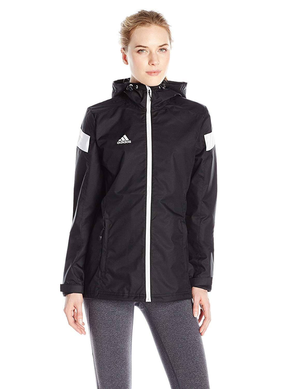 Details about Adidas Women's Team Woven Jacket, BlackWhite