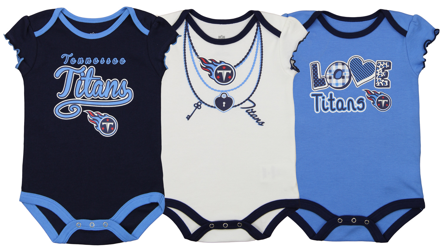 Outerstuff NFL Infant Girls Tennessee Titans Assorted 3 Pack Creeper Set