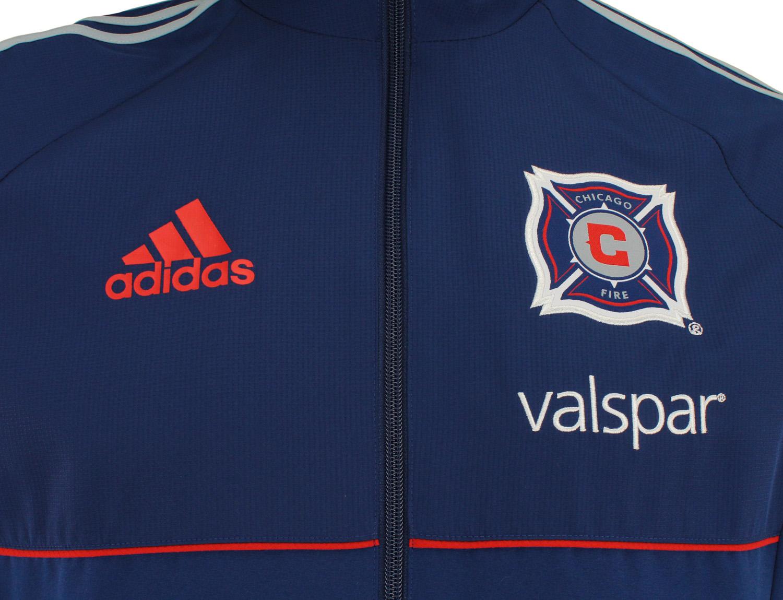 adidas MLS Men/'s Chicago Fire Soccer Club Team Color Travel Jacket Navy