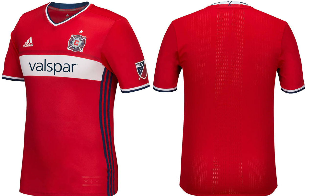 lowest price c9951 81d92 Details about adidas Men's MLS Chicago Fire Team Jersey Crew Neck