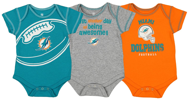 Miami Dolphins Football  Baby Infant Newborn creeper Bodysuit Hat set