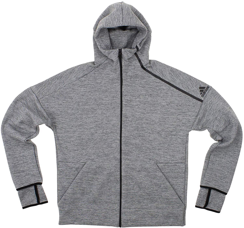 adidas Men's ZNE Fast Release Full Zip Hoodie, Grey 3X Large
