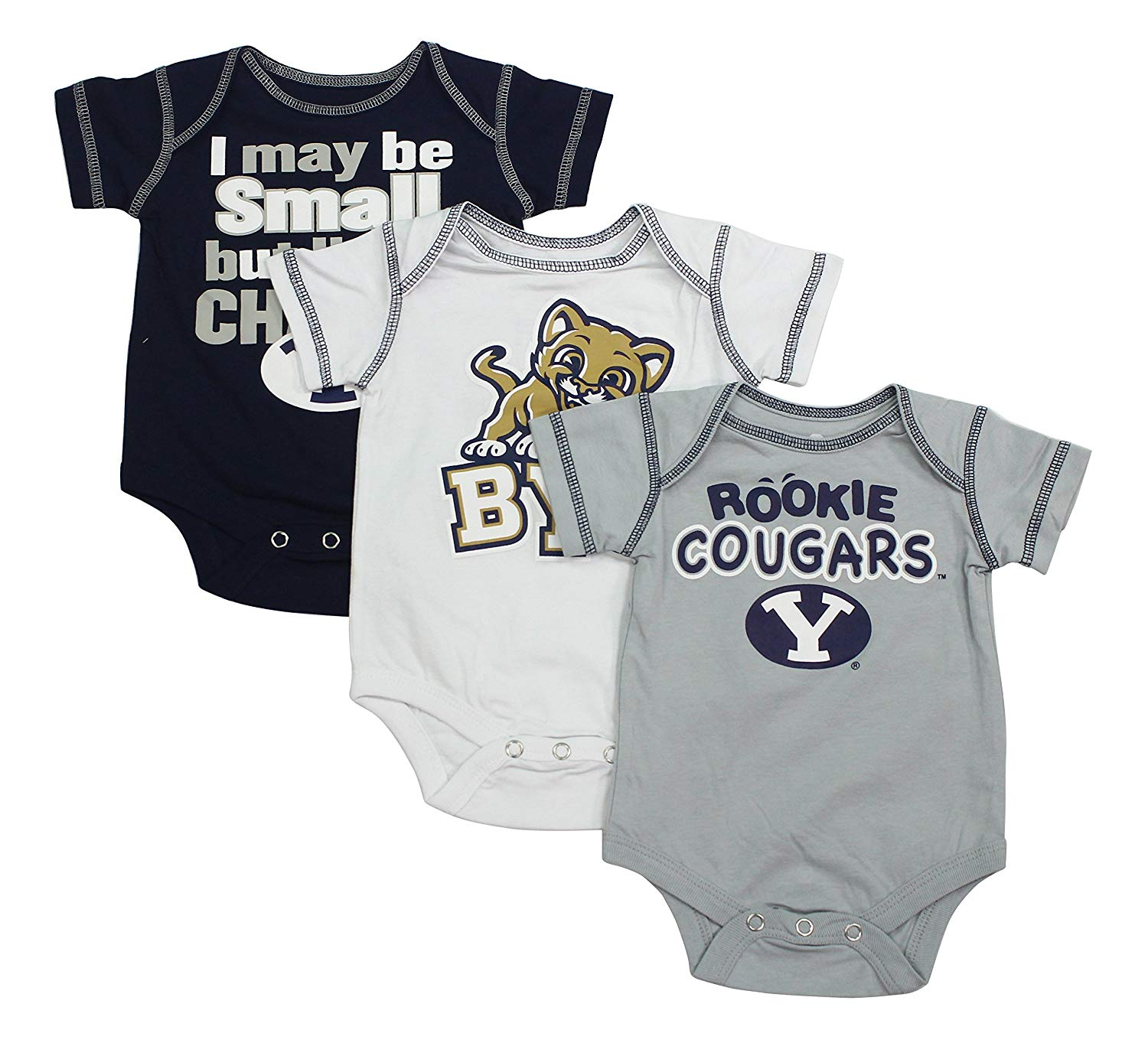 Outerstuff Baby SIUE Southern Illinois University Edwardsville Cougars Football Rookie 3 Piece Creeper Set